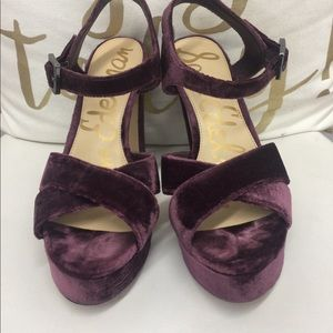 Sam Edelman Wine Velvet Platform Sandals